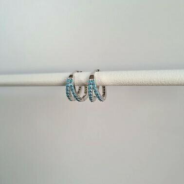 Twin oorbellen met blauwe steentjes 925 sterling zilver