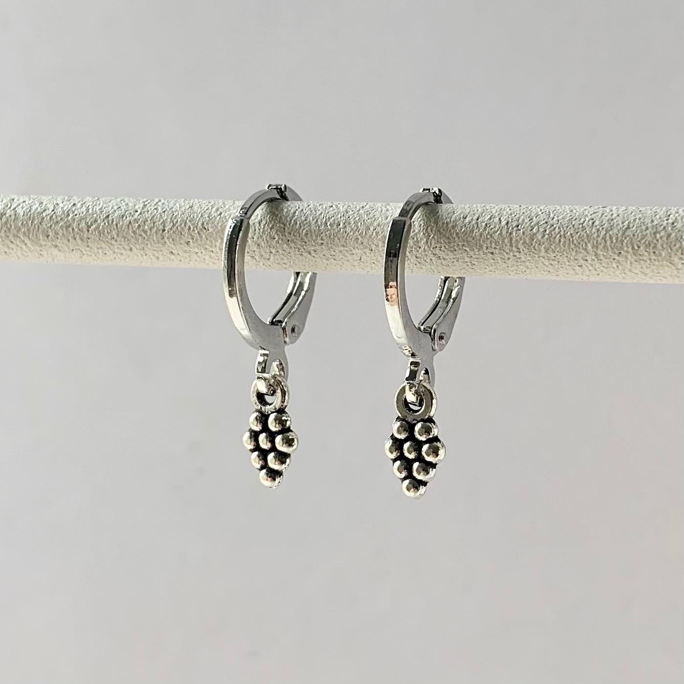 Tiny druifjes oorbellen zilver
