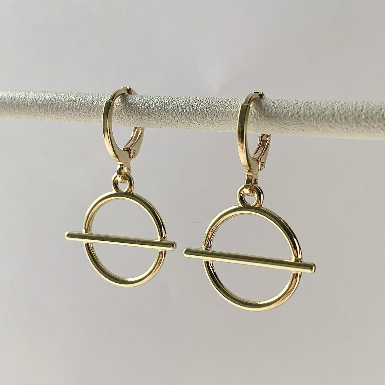 Lined circle oorbellen goud