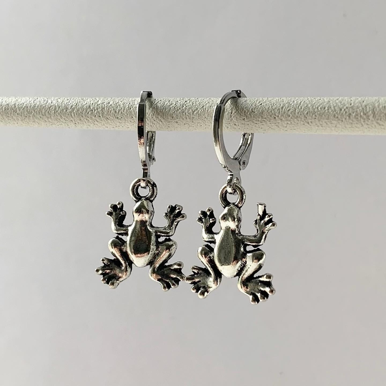 Kikker oorbellen zilver