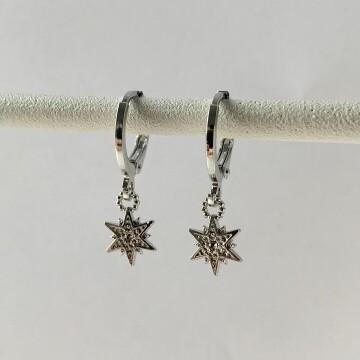Mini lovely star oorbellen zilver