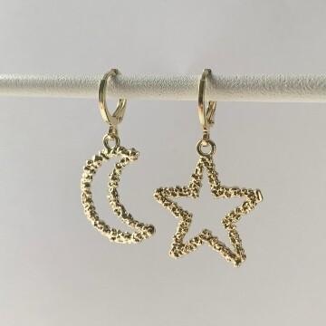 Open moon en star star oorbellen zilver