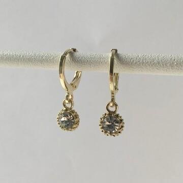 One stone oorbellen goud