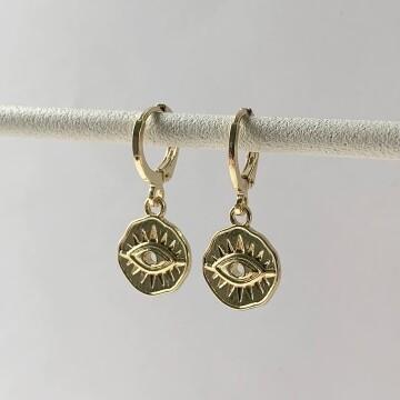 Mini dented eye coin oorbellen goud
