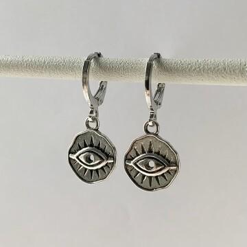 Mini dented eye coin oorbellen zilver