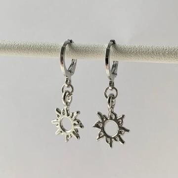 Mini sun oorbellen zilver