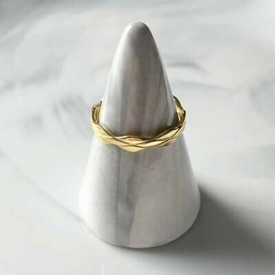 Gevlochten ring goud/925 sterling zilver
