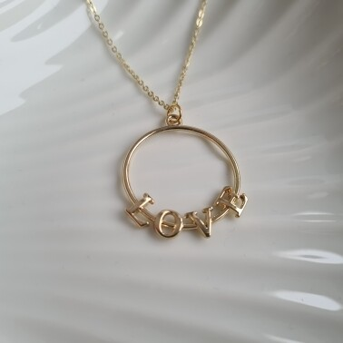 Love on a circle ketting goud