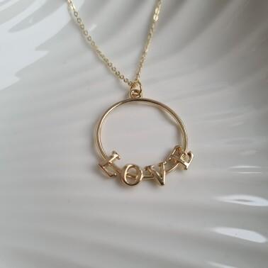 Love on a circle ketting goud