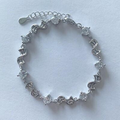 Double wave armband met kristallen steentjes 925 sterling zilver