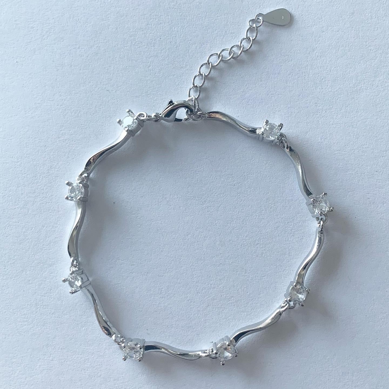 Wave armband met kristallen steentjes 925 sterling zilver