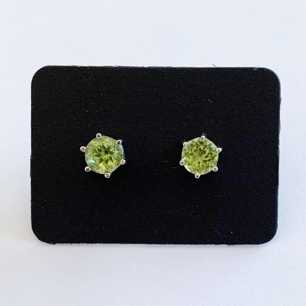 Groen Peridot ronde oorknopjes 925 sterling zilver