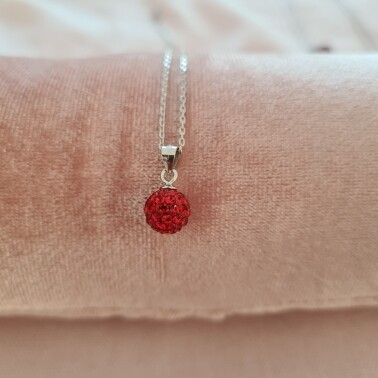 Bolletje ketting met rood kristal 925 sterling zilver