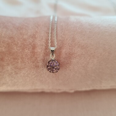 Bolletje ketting met licht paars kristal 925 sterling zilver
