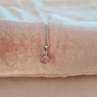 Bolletje ketting met roze kristal 925 sterling zilver