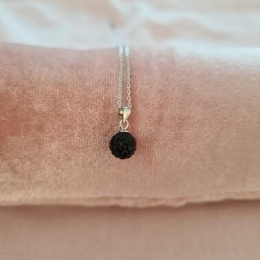 Bolletje ketting met zwart kristal 925 sterling zilver