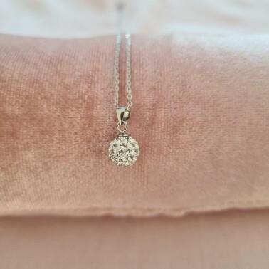 Bolletje ketting met wit kristal 925 sterling zilver