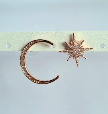 Shiny star en moon met strass steentjes rose goud gold plated