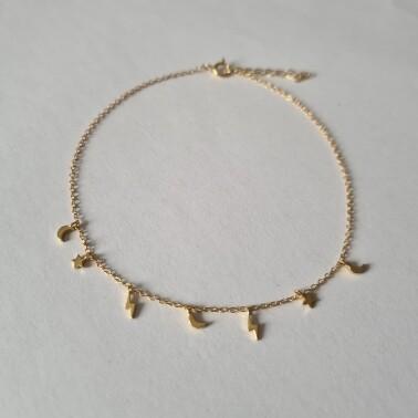 Maan, ster en bliksem enkelbandje goud/925 sterling zilver