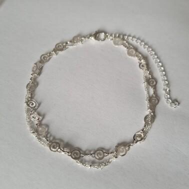 Dubbel beads en figuurtjes enkelbandje 925 sterling zilver