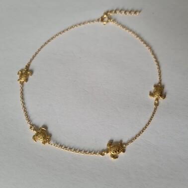 Turtle enkelbandje goud/925 sterling zilver