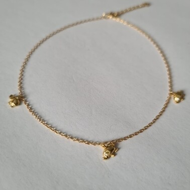 Mini olifant enkelbandje goud/925 sterling zilver