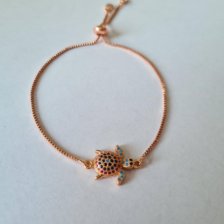 Schildpad armband met zirkonia steentjes rose goud