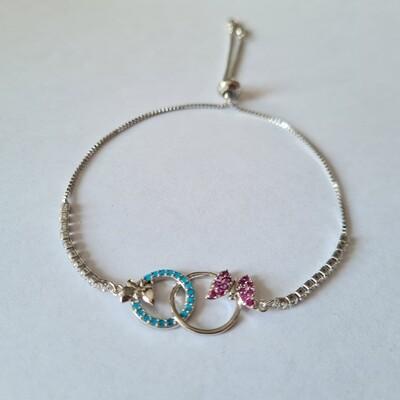 Vlinder armband met zirkonia steentjes zilver