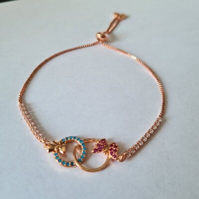 Vlinder armband met zirkonia steentjes rose goud