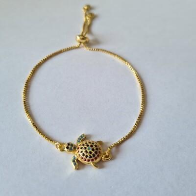 Schildpad armband met zirkonia steentjes goud