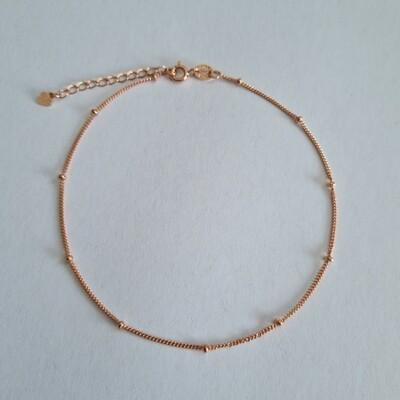 Enkelbandje met tiny beads rose goud/925 sterling zilver