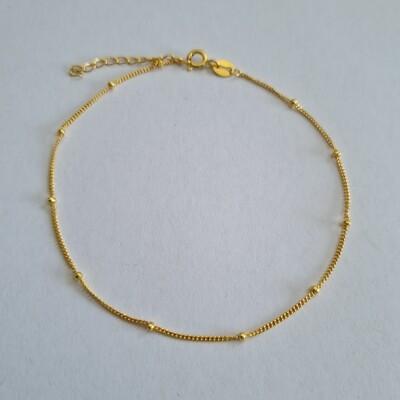 Enkelbandje met tiny beads gold plated