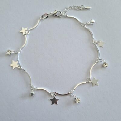 Enkelbandje met sterren en strass steentjes 925 sterling zilver
