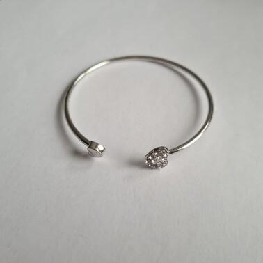 Hartje met steentjes armband zilver