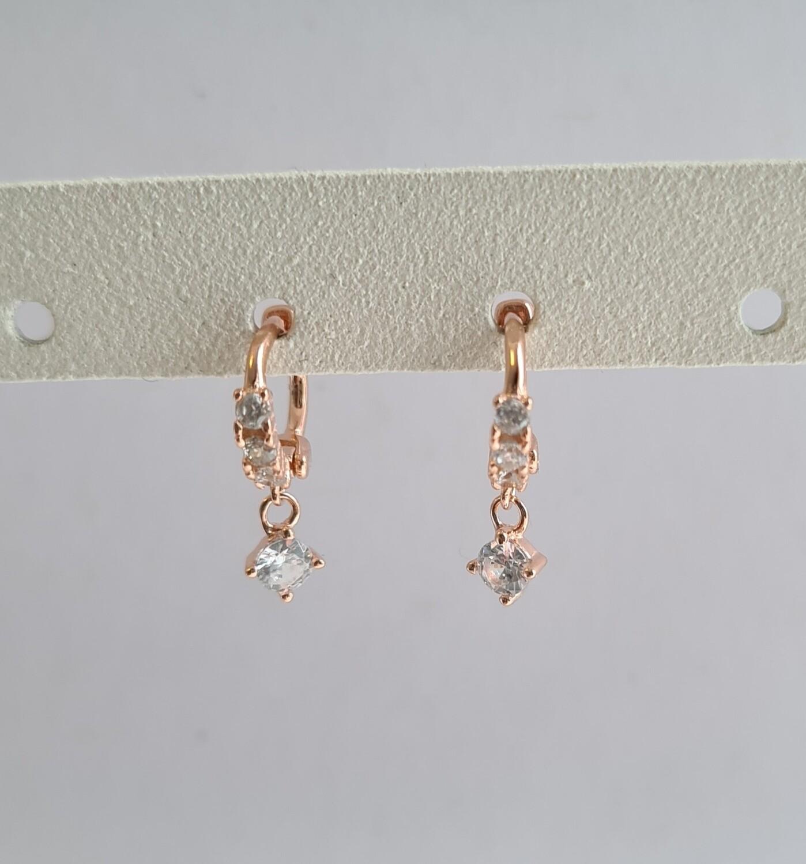 Tiny hangend diamantje oorringetjes rosé goud 925 sterling 6 mm