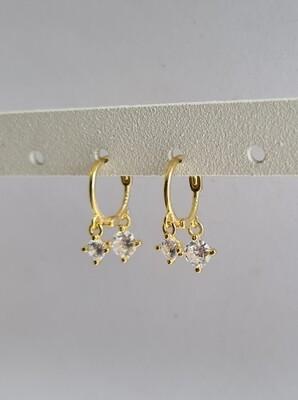 Dubbel tiny hangend diamantje oorringetjes goud 925 sterling zilver 6 mm