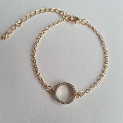 Open coin met strass steentjes armband goud