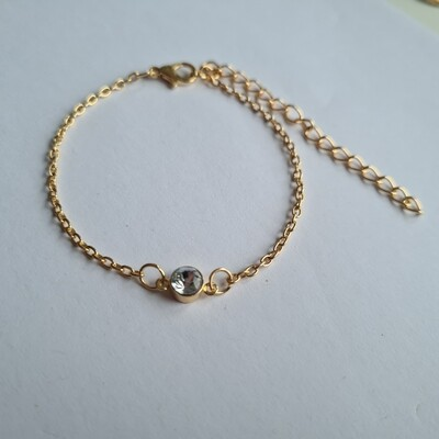 Diamant bead armband goud