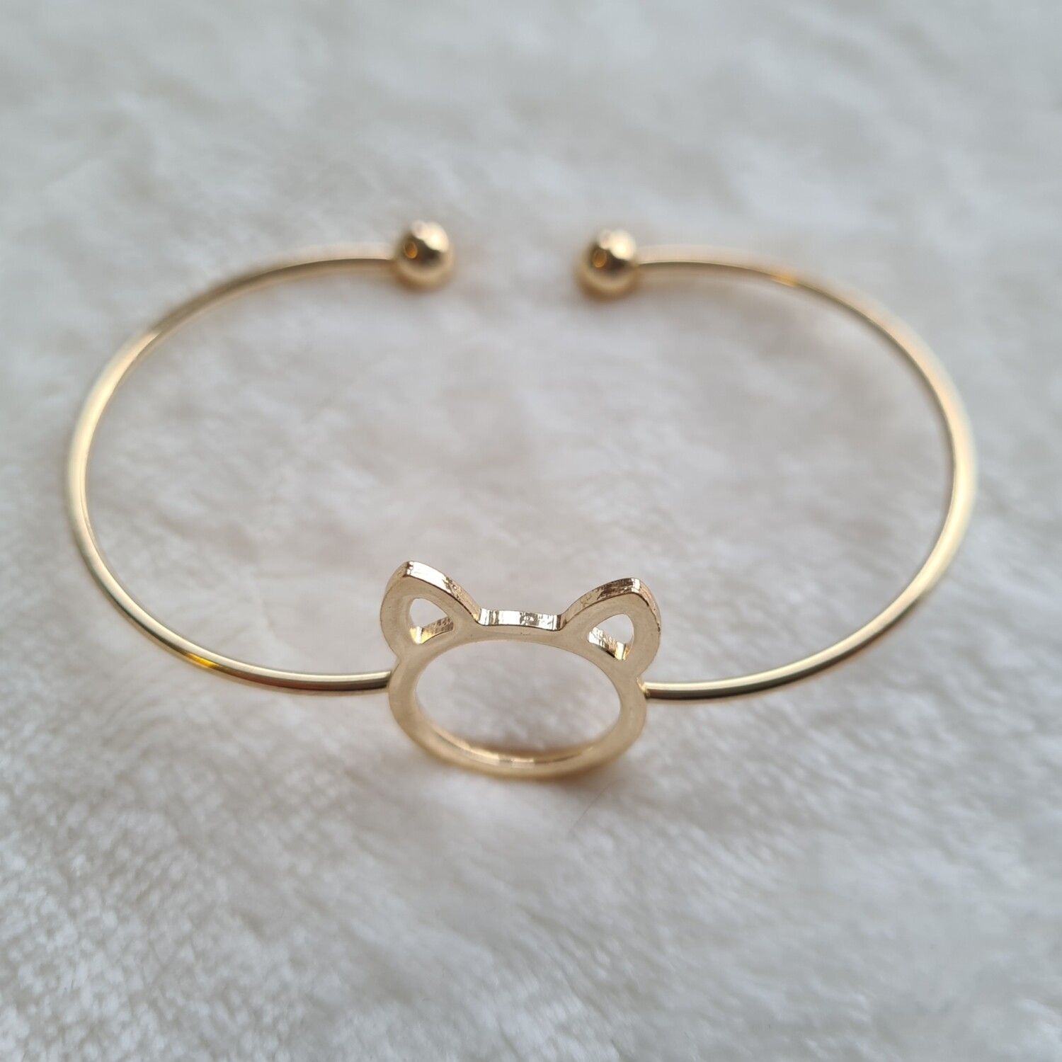 Kitty cat armband goud
