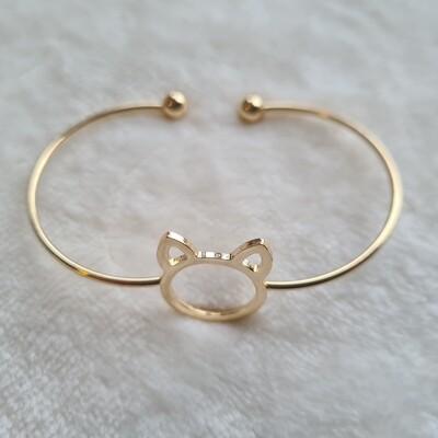 Kitty cat armband goud