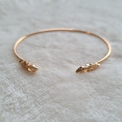 2 blaadjes armband goud