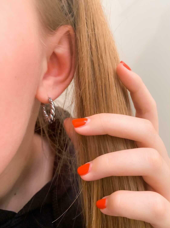 Rope oorbellen zilver stainless steel 1.8 mm