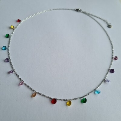 Colorful steentjes ketting zilver stainless steel
