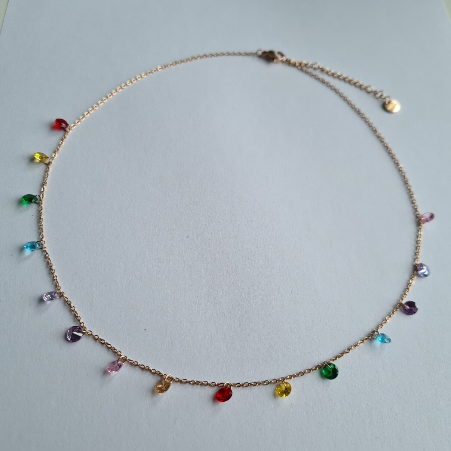Colorful steentjes ketting rose goud stainless steel