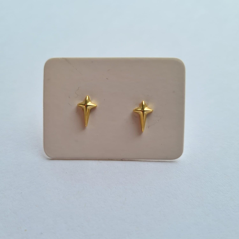 Tiny cross oorknopjes goud 925 sterling zilver