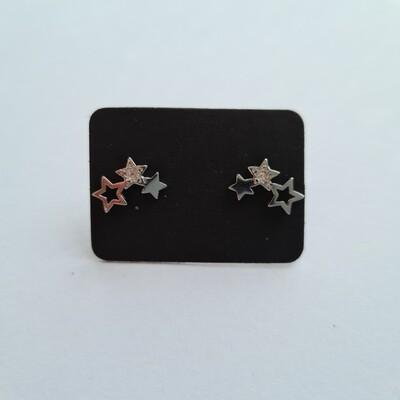 Shiny sterretjes oorknopjes 925 sterling zilver