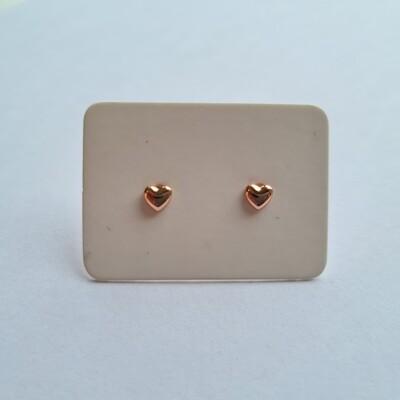 Tiny hartjes oorknopjes rose goud 925 sterling zilver