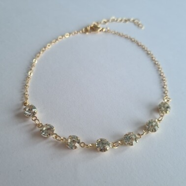 Diamantjes enkelbandje goud