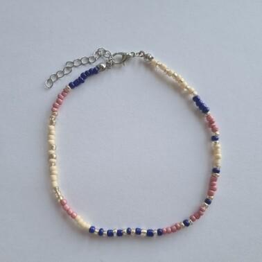 Roze/blauw/ivoor kralen enkelbandje zilver