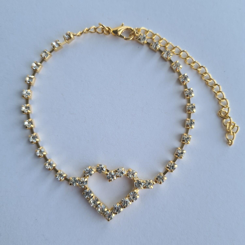 Open hart met strass steentjes enkelbandje goud